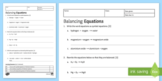 balancing equations homework activity sheet