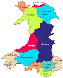 where is wales on the map map showing the counties of in different colours and the