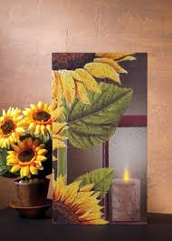 radiance flickering light canvas flickering lighted led canvas with sunflower and candle design