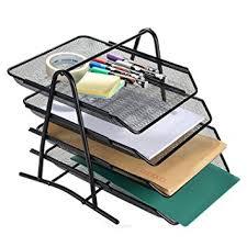 Paper Organizer For Desk Agptek 4 Tiers Black Mesh Filling Desk Letter Paper