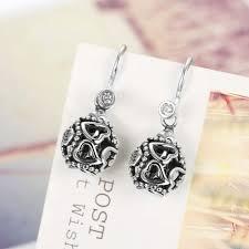 diy drop earrings amourjoux diy heart hollowed 925 sterling silver drop earrings for