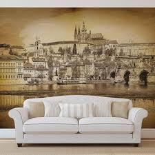 retro vintage wallpaper murals buy online at europosters city prague bridge cathedral river sepia wallpaper mural