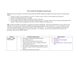 the crucible pre reading group project