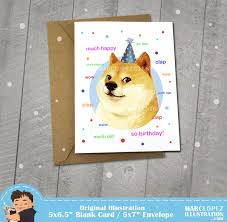 Meme Birthday Card - doge birthday card approximately 5 x 7 blank card with kraft