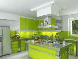 model kitchen set modern interior cat dapur minimalis warna hijau dan kuning