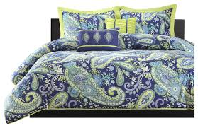 Blue Yellow Comforter Twin Twin Xl 5 Piece Paisley Comforter Set Blue And Yellow Colors