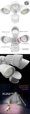 3 head security light outdoor security and floodlights 183393 30w 3 head motion activated