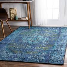 inspired rugs nuloom traditional vintage inspired overdyed fancy blue rug 9 x