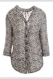 blouse for stylish leopard print stand collar 3 4 flanging sleeve chiffon