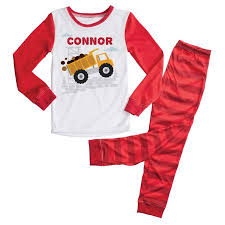 personalized truck boys toddler pajamas 2t 3t 4t 5 6t