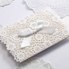 ribbon lace lace muslim wedding invitations embossed white ribbon
