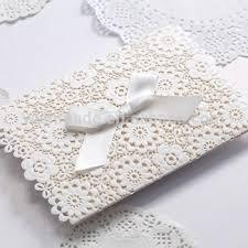 ribbon lace lace muslim wedding invitations embossed white ribbon