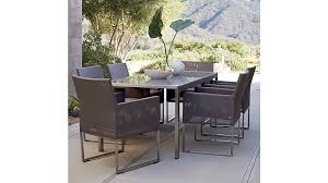 outdoor rectangular dining table mesh outdoor dining chair taupe cushion reviews crate and barrel