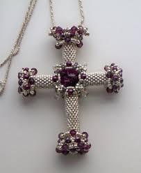 beaded cross necklace images Purple beaded cross gallery of crosses jpg