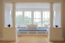 unique and good bay window design ideas modern bay window futuristic bay window design ideas with u shape grey bench seat and wooden flooring