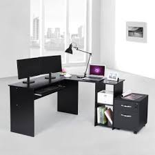 bureau ordinateur d angle superbe bureau informatique d angle noir avec etagère neuf sglcd810b