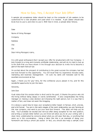 Formal Job Offer Letter Template by How To Say Yes I Accept Your Job Offer