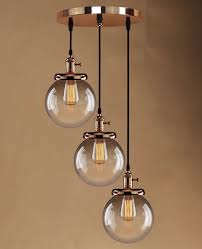 retro vintage cluster hanging ceiling lights globe 3 glass shades