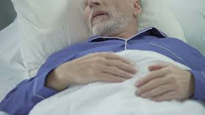 Man Sleeping In Bed Senior Man Sleeping In Bed And Snoring Loudly Problems With Sleep