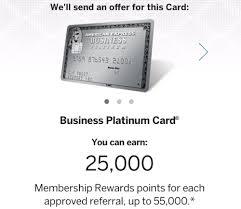 Business Platinum Card Amex Earn 25k Bonus Points Per Amex Business Platinum Card Referral