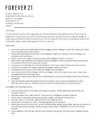 Forever 21 Resume Forever 21 Job Description Job Description For Cashier At Forever