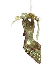 deals on high heel shoe ornament gold