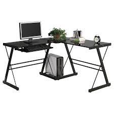 Laptop Corner Desk Ktaxon L Shape Computer Desk Corner Desk Black With Black Glass