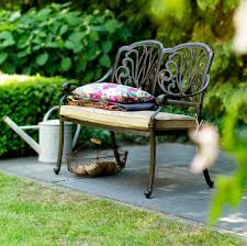 amalfi 2 seat garden bench bronze free cushion