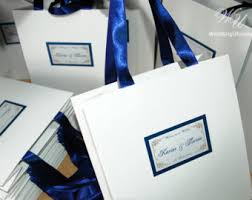 personalized wedding welcome bags wedding welcome bags with navy satin ribbon and names