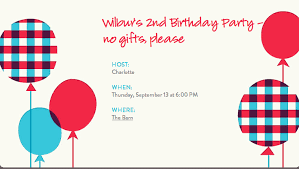 kids birthday party invitation wording no gifts inexpensive