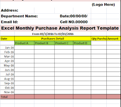 excel monthly purchase activity report template u2013 free report