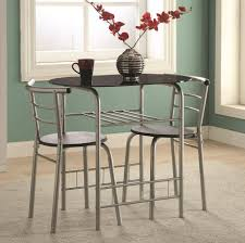 coaster dining room sets coaster 150129 dinette dining table 3 pc set black and silver finish