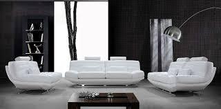 White And Black Sofa Set by Modern White Bonded Leather Sofa Set