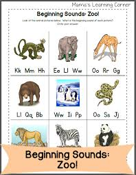 beginning letter sounds zoo edition mamas learning corner