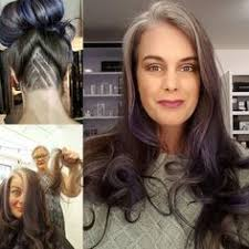 images of grey hair in transisition another great way to transition into grey large blocks on grey to