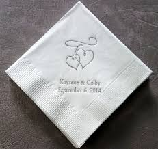 hearts personalized wedding napkins printed napkins - Printed Wedding Napkins