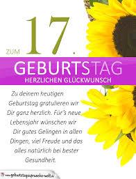 sprüche 17 geburtstag schlichte geburtstagskarte mit sonnenblumen zum 17 geburtstag
