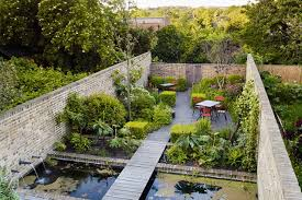 walled garden pond outdoor seating small garden ideas