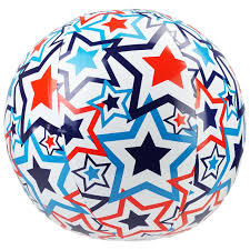 14 red white and blue light up swimming pool beach ball with star