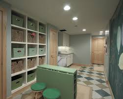 espresso folding tables with storage cubbies laundry room