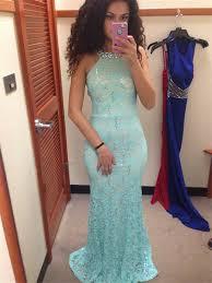 149 99 2017 prom dresses long sheath column scoop lace blue