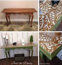 Hall Table Decor One Stencil Three Stenciled Furniture Projects Stencil Stories