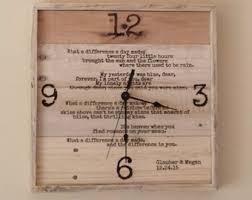 anniversary clocks engraved anniversary clock pallet wood wall clock wedding vows wall