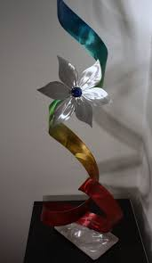 Flower Home Decor by Wilmos Kovacs Metal Art Modern Table Sculpture Abstract Flower