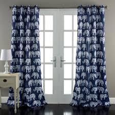 Navy Window Curtains Elephant Parade Window Curtains Navy Set Lush Decor Www