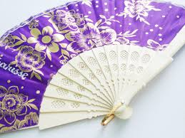 pretty folding manual fan filipino style with design purple date