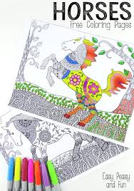 intricate horses coloring pages adults easy peasy fun