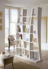Floor To Ceiling Wall Dividers by Awesome White Wooden Bookcase As Living Room Divider White Fabric