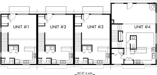 Multi Unit House Plans 4 Plex Plans Fourplex With Owners Unit Quadplex Plans F 537