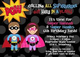 superhero party themed invitations